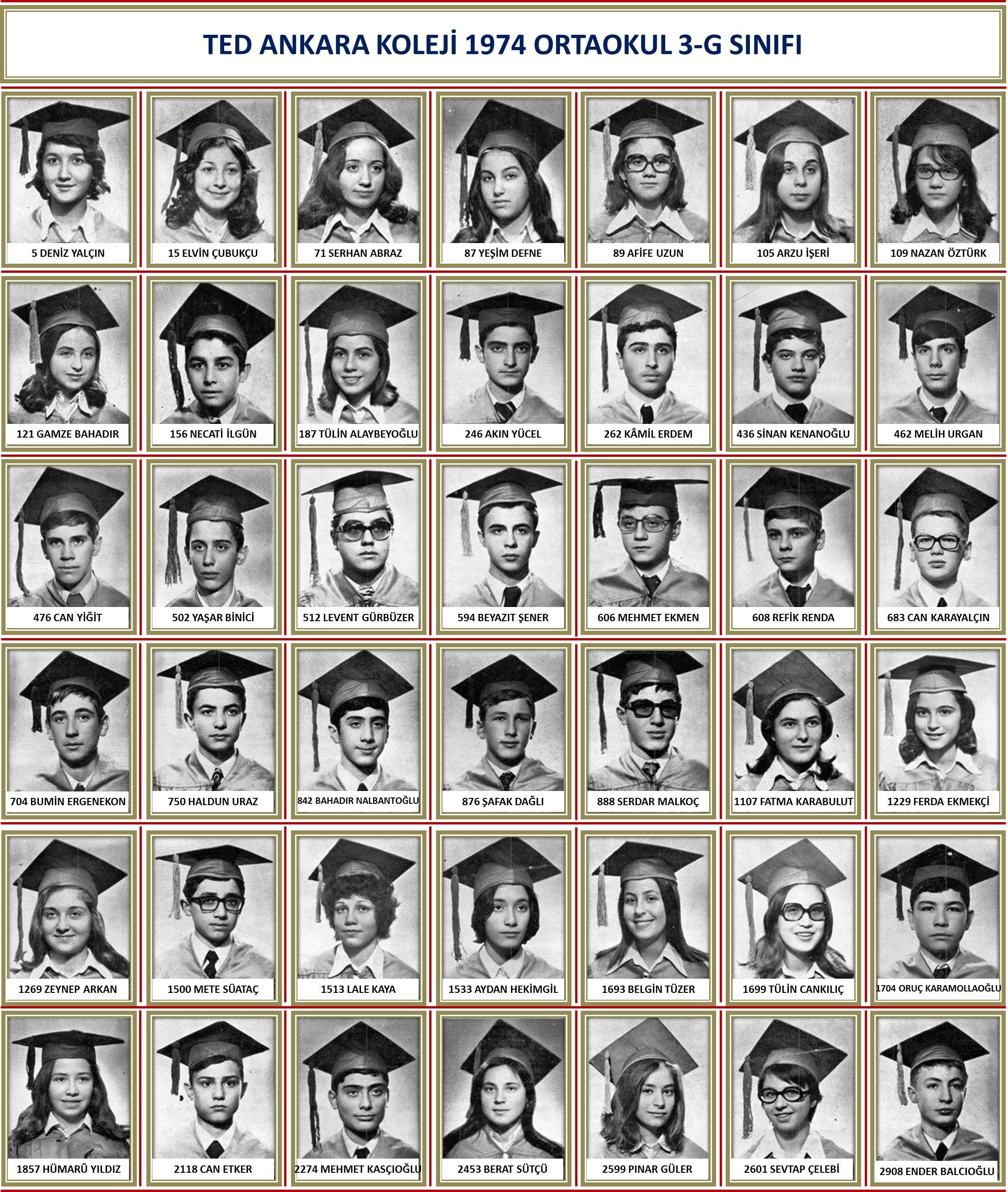 1974 3-G Sınıf toplu beyaz zemin