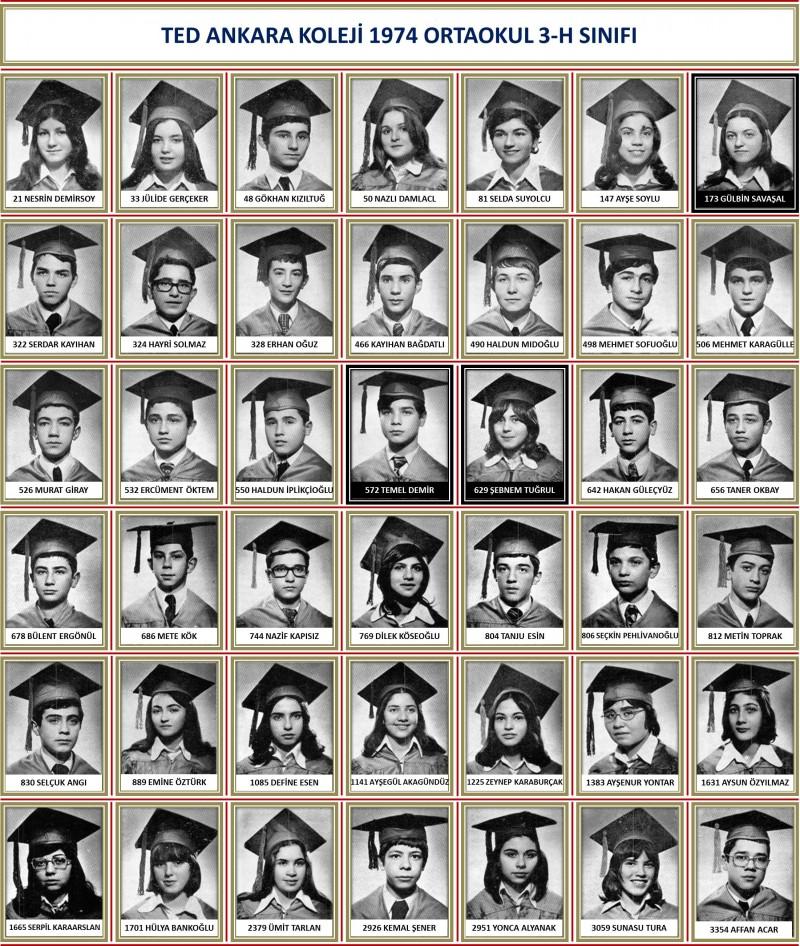 1974 3-H Sınıf toplu beyaz zemin