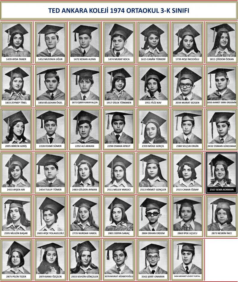1974 3-K Sınıf toplu beyaz zemin