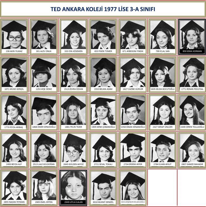 1977 3-A Sınıf toplu beyaz zemin