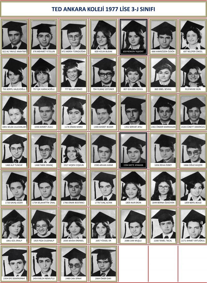 1977 3-J Sınıf toplu beyaz zemin